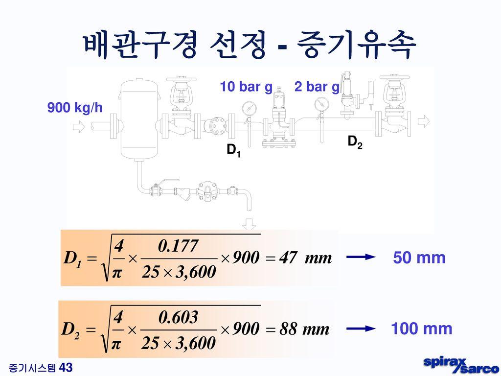 배관구경 선정 - 증기유속 10 bar g 2 bar g 900 kg/h D2 D1 50 mm 100 mm