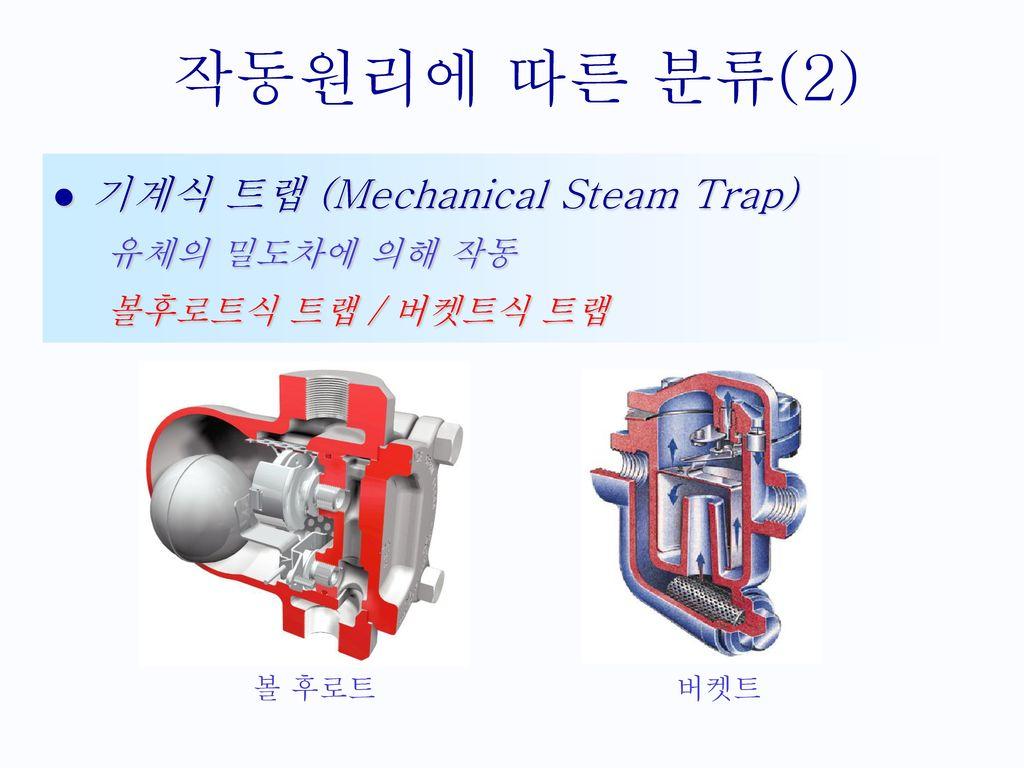 작동원리에 따른 분류(2) 기계식 트랩 (Mechanical Steam Trap) 유체의 밀도차에 의해 작동