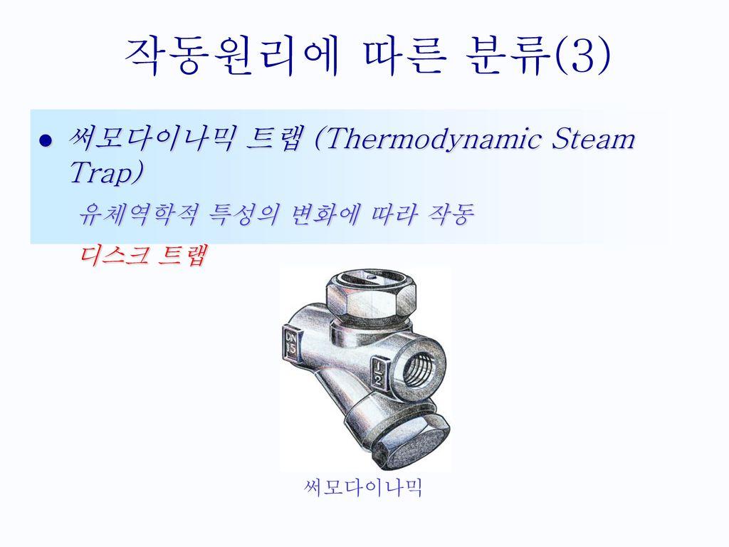 작동원리에 따른 분류(3) 써모다이나믹 트랩 (Thermodynamic Steam Trap)