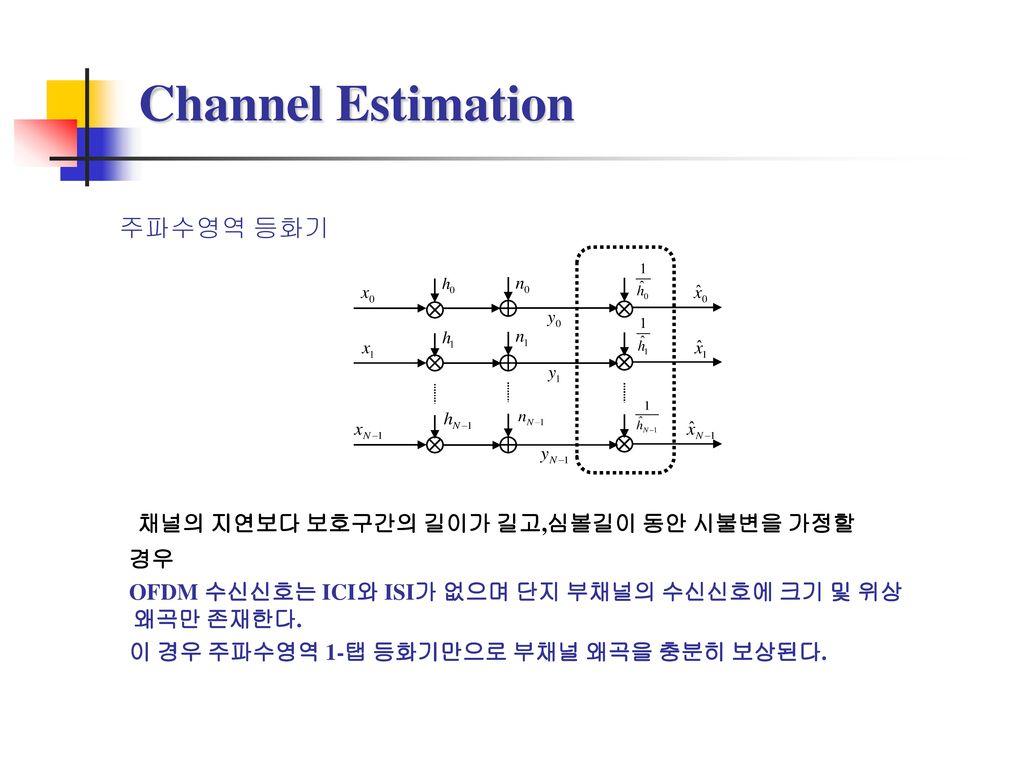 Channel Estimation 채널의 지연보다 보호구간의 길이가 길고,심볼길이 동안 시불변을 가정할 주파수영역 등화기 경우