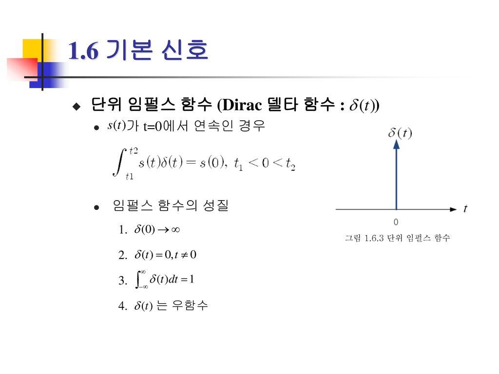 1.6 기본 신호 단위 임펄스 함수 (Dirac 델타 함수 : ) 가 t=0에서 연속인 경우 임펄스 함수의 성질 1. 2.