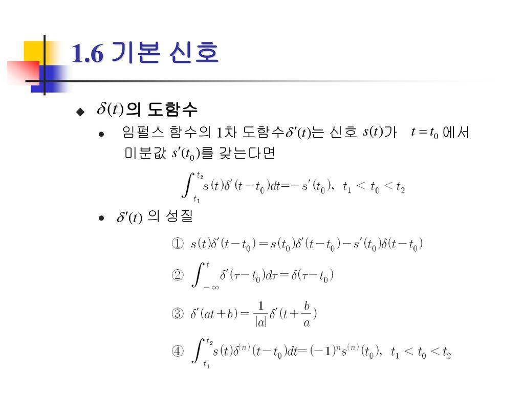 1.6 기본 신호 의 도함수 임펄스 함수의 1차 도함수 는 신호 가 에서 미분값 를 갖는다면 의 성질