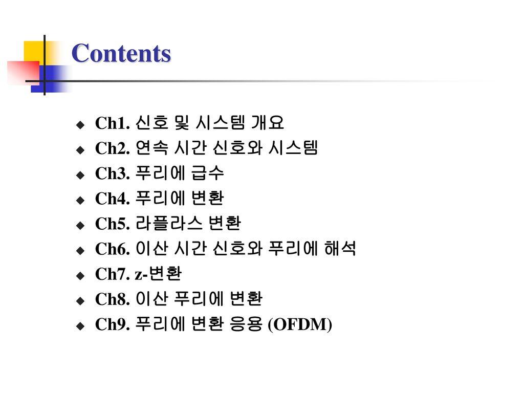 Contents Ch1. 신호 및 시스템 개요 Ch2. 연속 시간 신호와 시스템 Ch3. 푸리에 급수 Ch4. 푸리에 변환