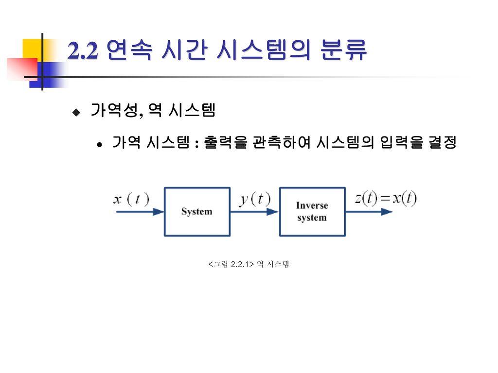 2.2 연속 시간 시스템의 분류 가역성, 역 시스템 가역 시스템 : 출력을 관측하여 시스템의 입력을 결정