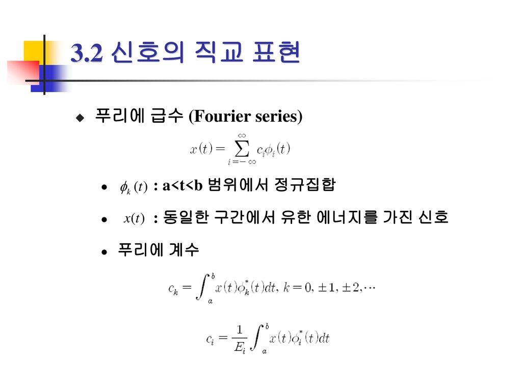 3.2 신호의 직교 표현 푸리에 급수 (Fourier series) : a<t<b 범위에서 정규집합