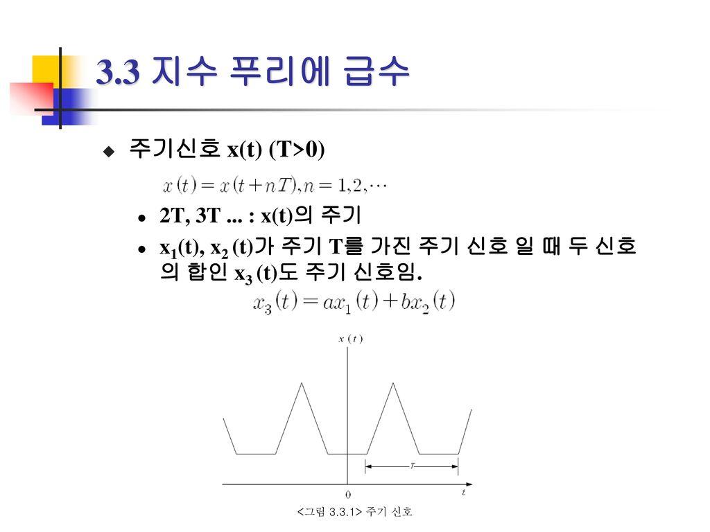 3.3 지수 푸리에 급수 주기신호 x(t) (T>0) 2T, 3T ... : x(t)의 주기