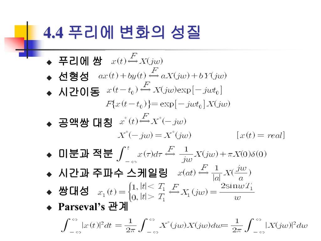 4.4 푸리에 변화의 성질 푸리에 쌍 선형성 시간이동 공액쌍 대칭 미분과 적분 시간과 주파수 스케일링 쌍대성