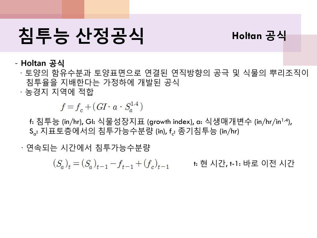 침투능 산정공식 Holtan 공식 - Holtan 공식
