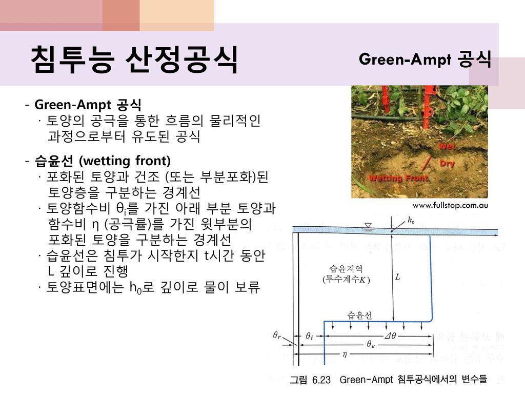 침투능 산정공식 Green-Ampt 공식 - Green-Ampt 공식 · 토양의 공극을 통한 흐름의 물리적인