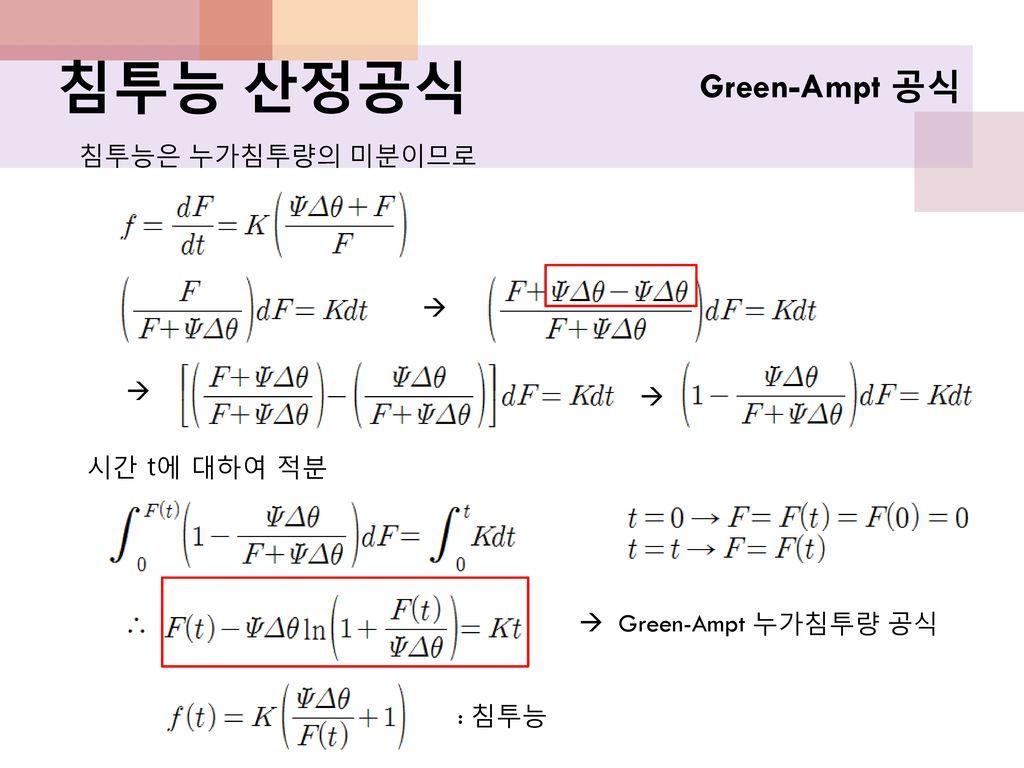 침투능 산정공식 Green-Ampt 공식 침투능은 누가침투량의 미분이므로    시간 t에 대하여 적분