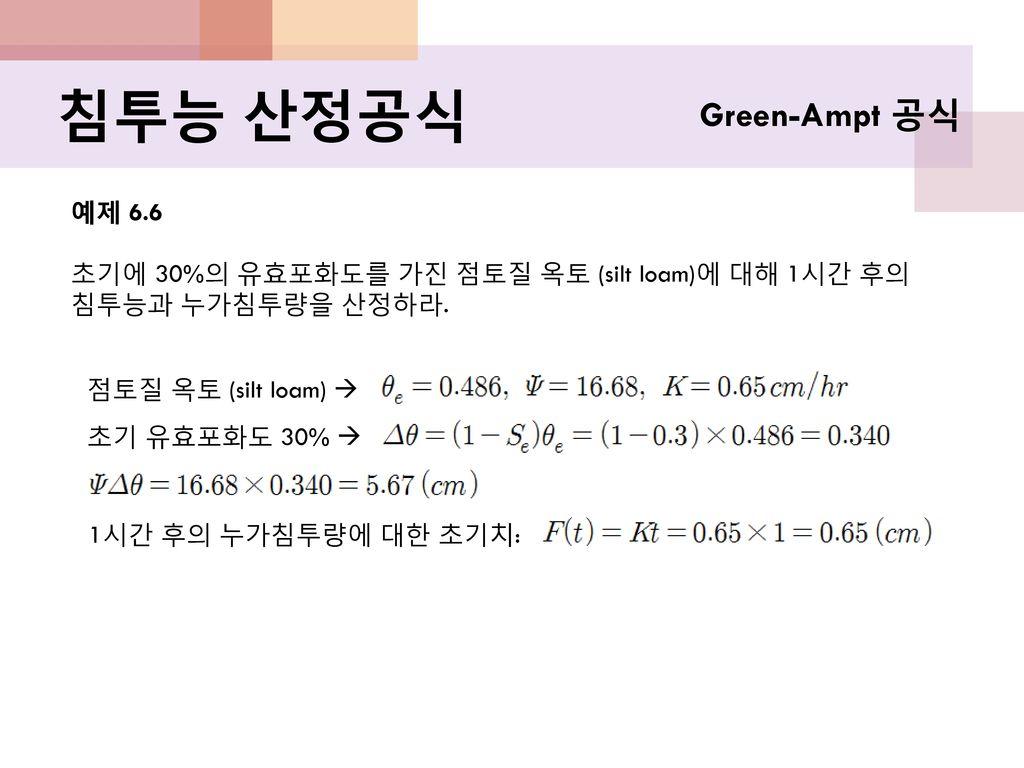 침투능 산정공식 Green-Ampt 공식 예제 6.6