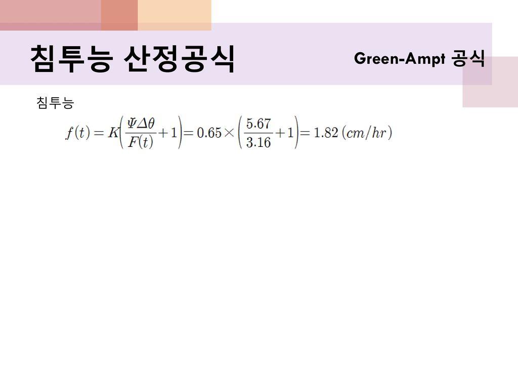 침투능 산정공식 Green-Ampt 공식 침투능