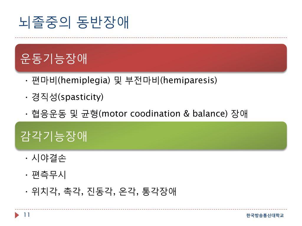 뇌졸중의 동반장애 한국방송통신대학교 운동기능장애 편마비(hemiplegia) 및 부전마비(hemiparesis)