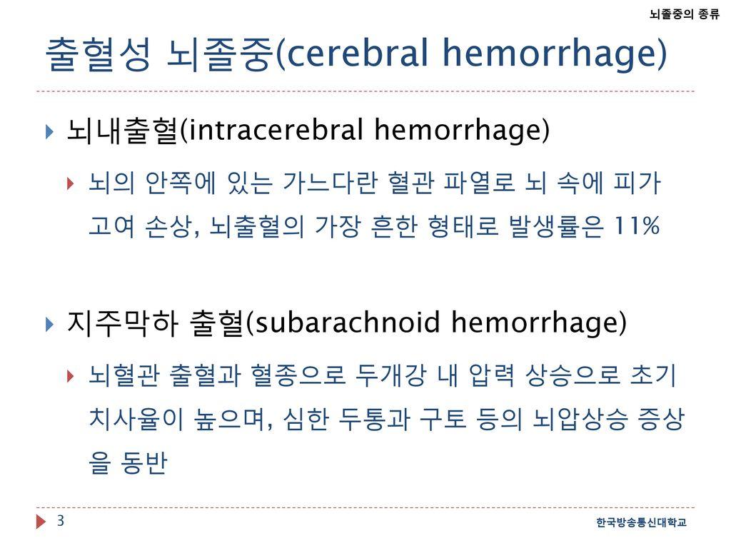 출혈성 뇌졸중(cerebral hemorrhage)