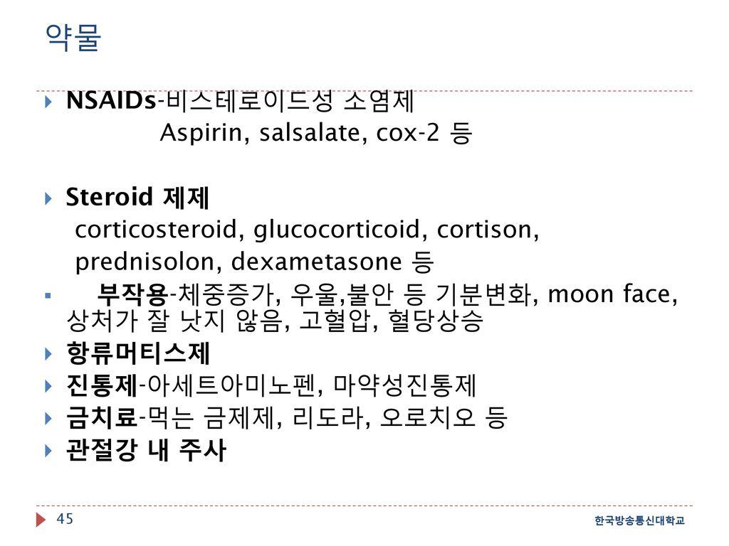 약물 NSAIDs-비스테로이드성 소염제 Aspirin, salsalate, cox-2 등 Steroid 제제