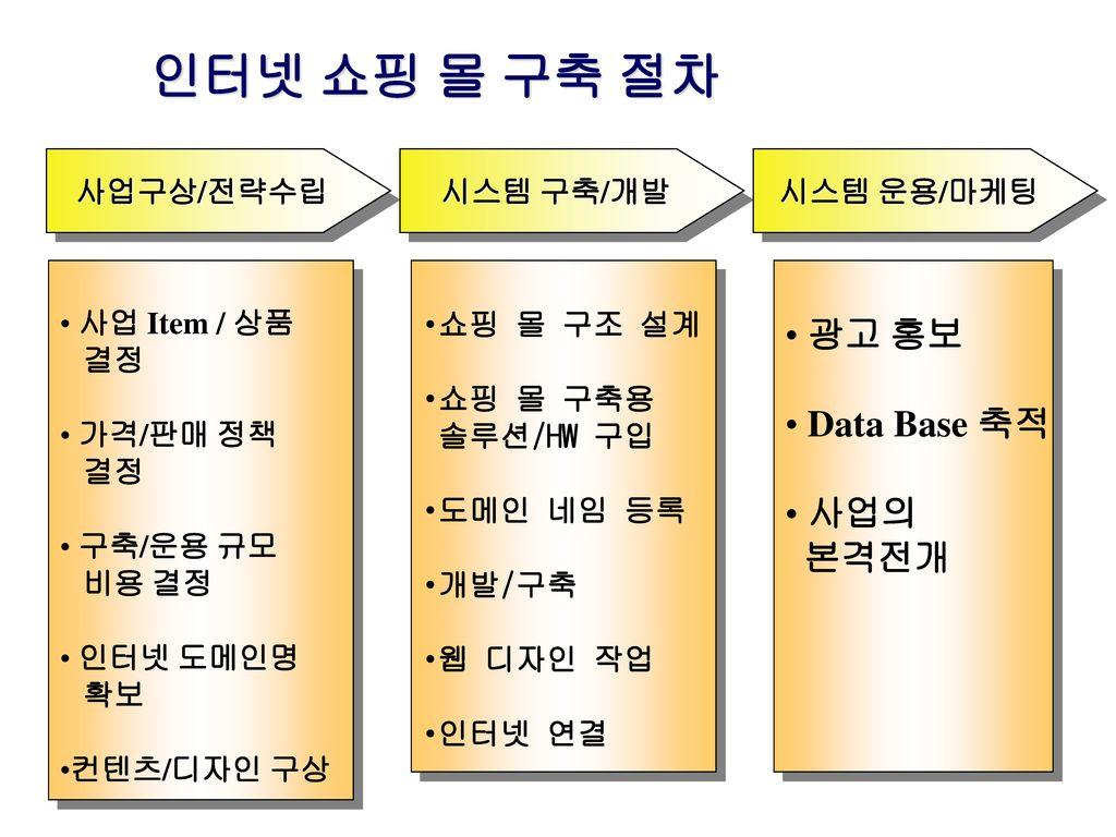 인터넷 쇼핑 몰 구축 절차 광고 홍보 Data Base 축적 사업의 본격전개 사업구상/전략수립 시스템 구축/개발
