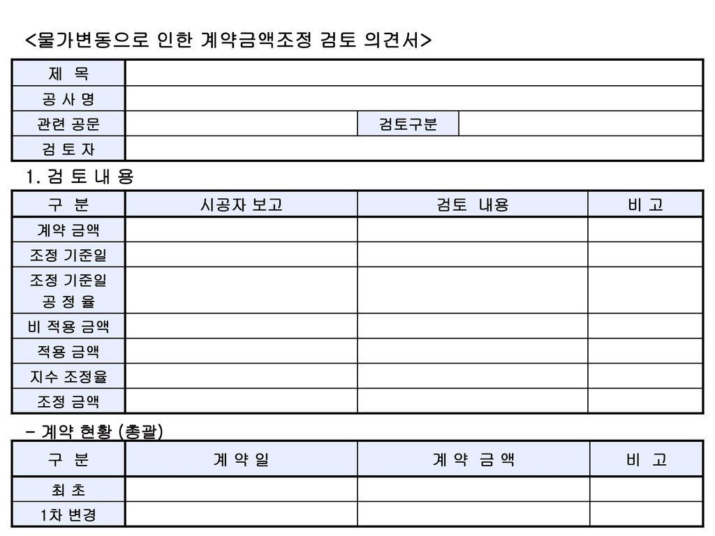 <물가변동으로 인한 계약금액조정 검토 의견서>