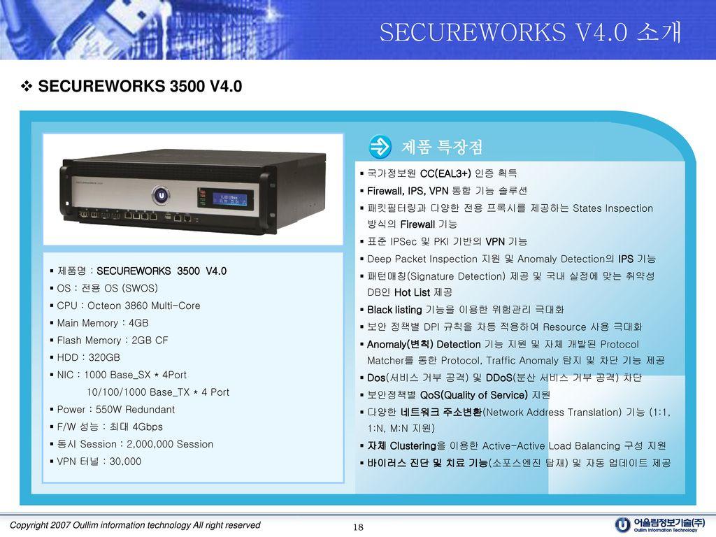 SECUREWORKS V4.0 소개 SECUREWORKS 3500 V4.0 제품 특장점 국가정보원 CC(EAL3+) 인증 획득