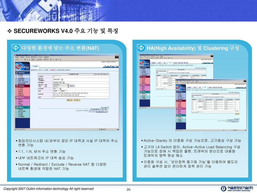 SECUREWORKS V4.0 주요 기능 및 특징 다양한 환경에 맞는 주소 변환(NAT)
