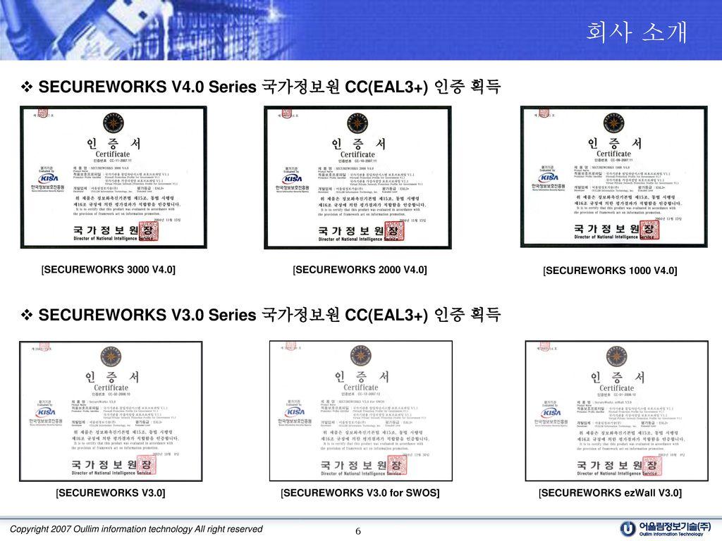 회사 소개 SECUREWORKS V4.0 Series 국가정보원 CC(EAL3+) 인증 획득