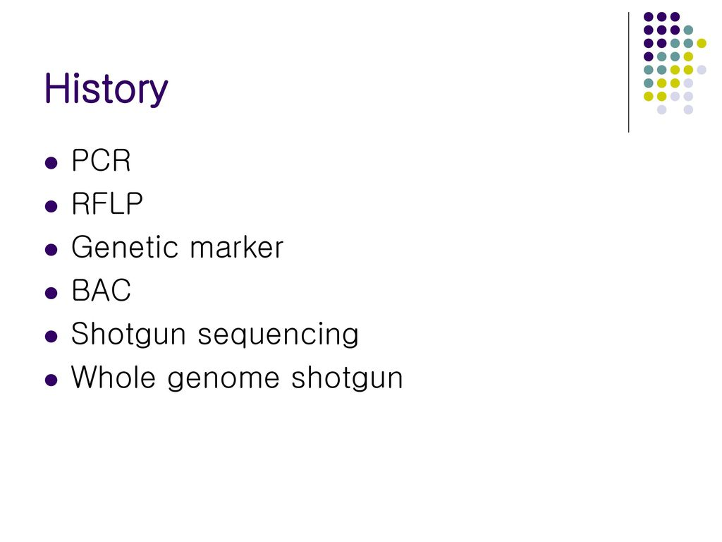 History PCR RFLP Genetic marker BAC Shotgun sequencing