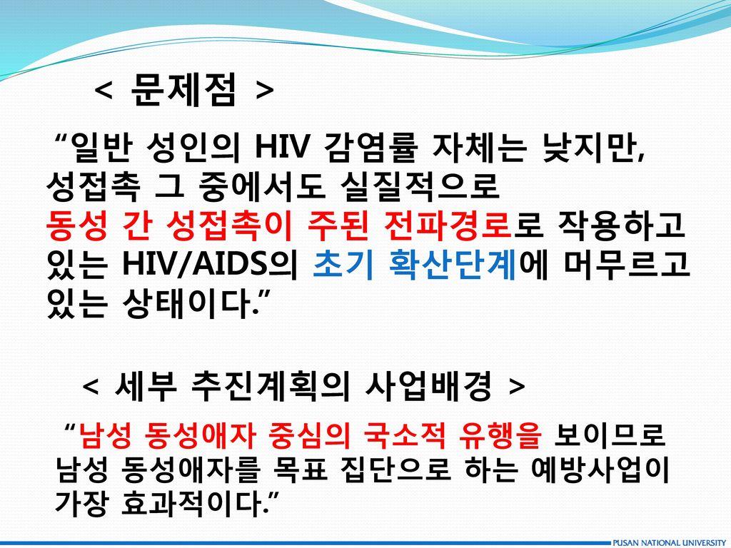 있는 HIV/AIDS의 초기 확산단계에 머무르고 있는 상태이다.