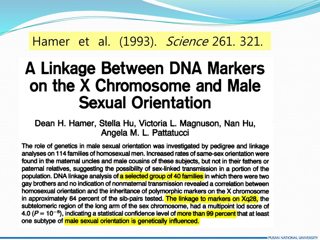 Hamer et al. (1993). Science 261. 321.