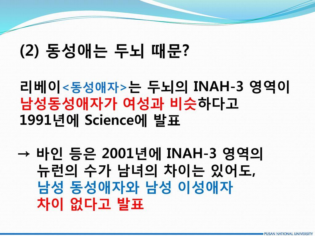 (2) 동성애는 두뇌 때문 리베이<동성애자>는 두뇌의 INAH-3 영역이 남성동성애자가 여성과 비슷하다고