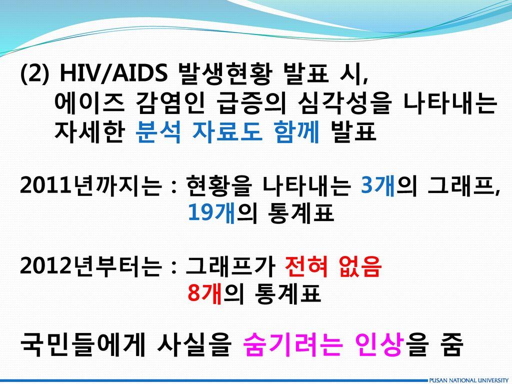 국민들에게 사실을 숨기려는 인상을 줌 (2) HIV/AIDS 발생현황 발표 시, 에이즈 감염인 급증의 심각성을 나타내는