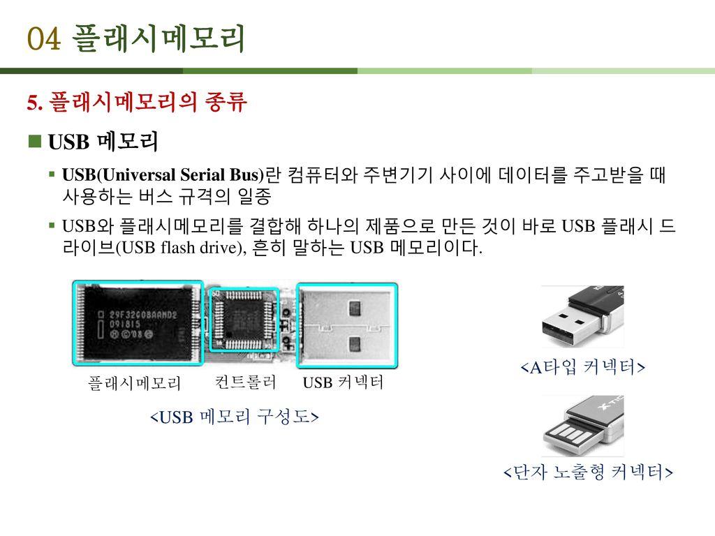 04 플래시메모리 5. 플래시메모리의 종류 USB 메모리