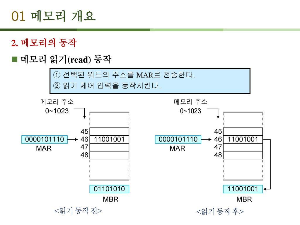 01 메모리 개요 2. 메모리의 동작 메모리 읽기(read) 동작 ① 선택된 워드의 주소를 MAR로 전송한다.