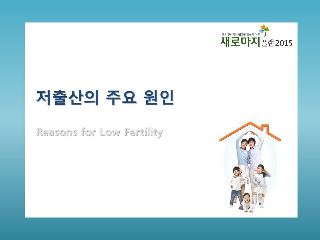 저출산의 주요 원인 Reasons for Low Fertility 다음은 빠른 고령화의 주 원인인 저출산이 왜 발생하는지