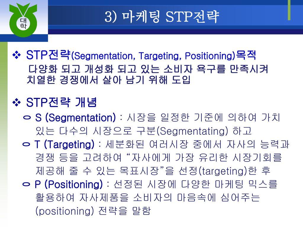 3) 마케팅 STP전략 STP전략(Segmentation, Targeting, Positioning)목적 STP전략 개념