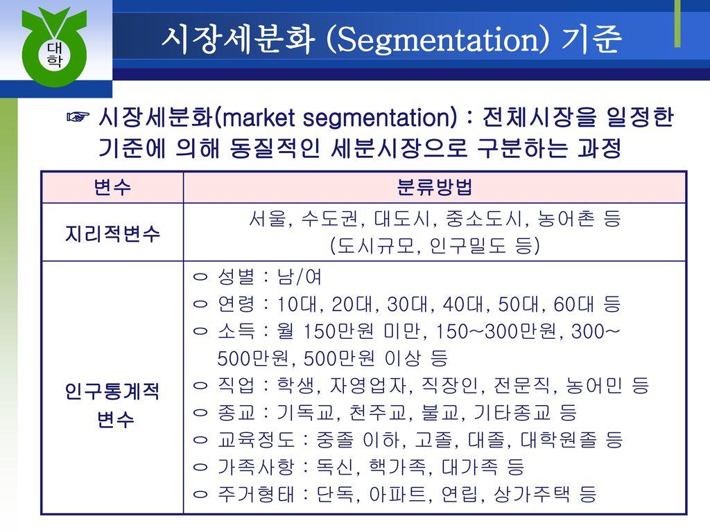 시장세분화 (Segmentation) 기준