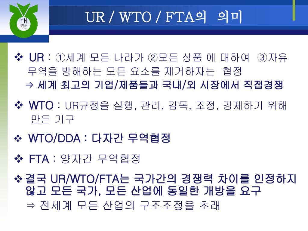 UR / WTO / FTA의 의미 UR : ①세계 모든 나라가 ②모든 상품 에 대하여 ③자유