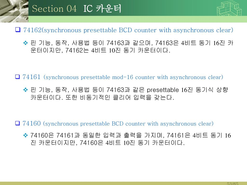 Section 04 IC 카운터 74162(synchronous presettable BCD counter with asynchronous clear)