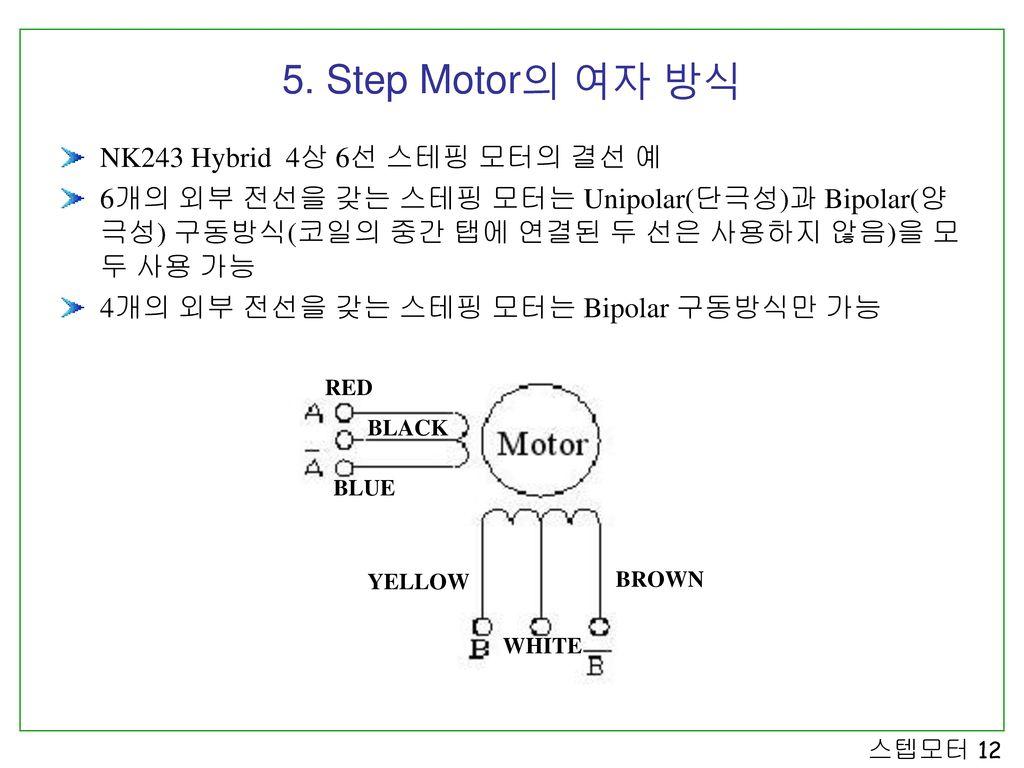 5. Step Motor의 여자 방식 NK243 Hybrid 4상 6선 스테핑 모터의 결선 예