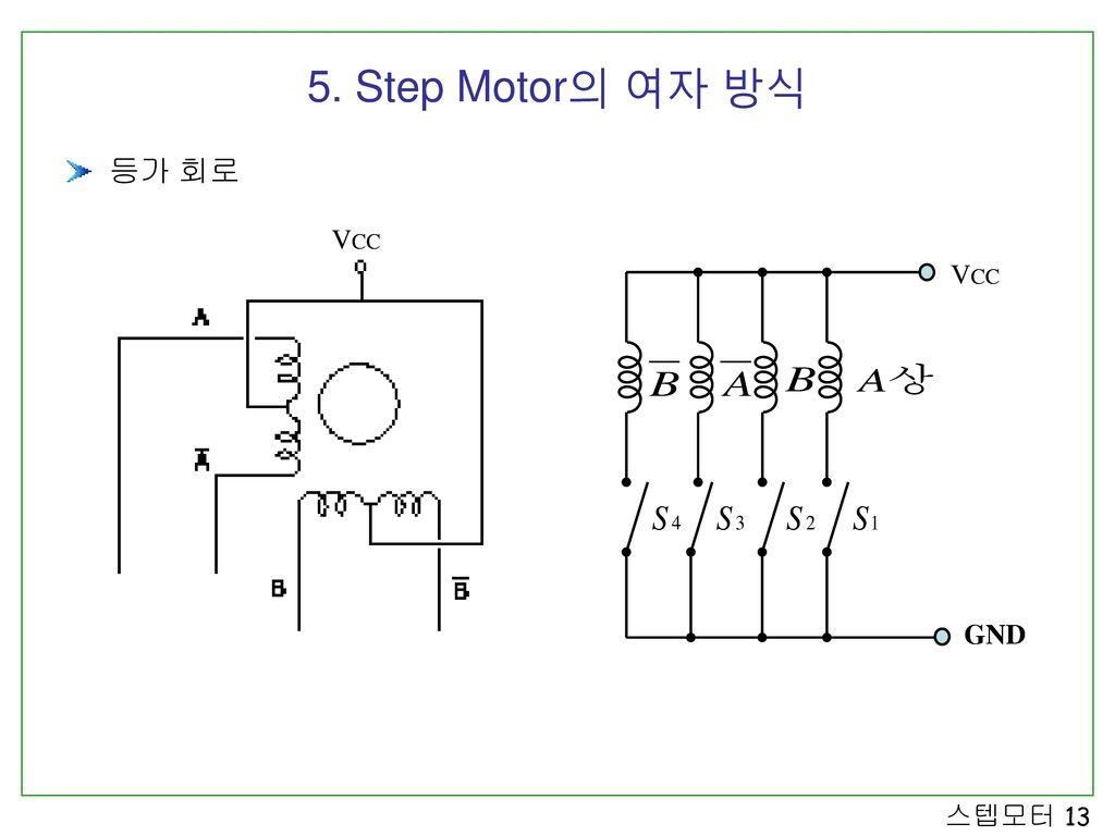 5. Step Motor의 여자 방식 등가 회로 VCC VCC GND