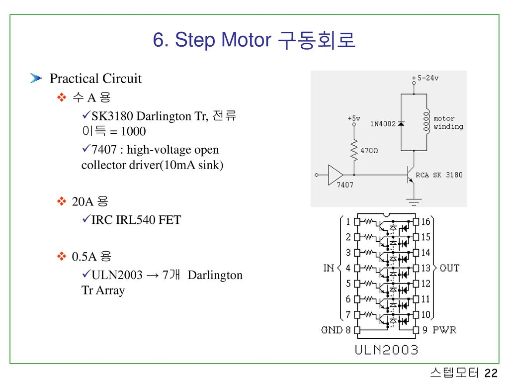 6. Step Motor 구동회로 Practical Circuit 수 A 용