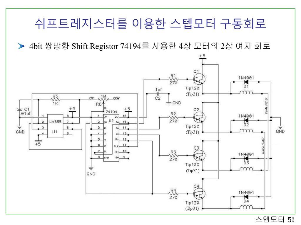 쉬프트레지스터를 이용한 스텝모터 구동회로 4bit 쌍방향 Shift Registor 74194를 사용한 4상 모터의 2상 여자 회로