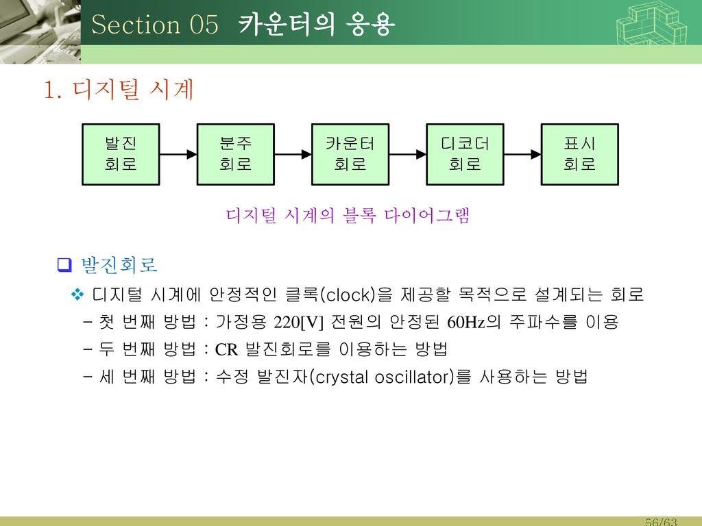 Section 05 카운터의 응용 1. 디지털 시계 발진회로