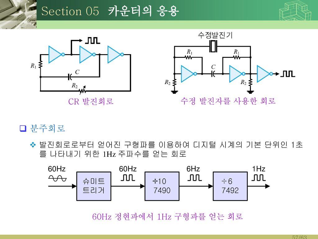 Section 05 카운터의 응용 분주회로. 발진회로로부터 얻어진 구형파를 이용하여 디지털 시계의 기본 단위인 1초를 나타내기 위한 1Hz 주파수를 얻는 회로. CR 발진회로.