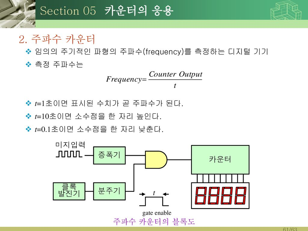 Section 05 카운터의 응용 2. 주파수 카운터 임의의 주기적인 파형의 주파수(frequency)를 측정하는 디지털 기기