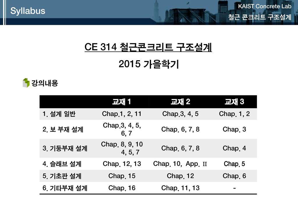 CE 314 철근콘크리트 구조설계 2015 가을학기 Syllabus 강의내용 교재 1 교재 2 교재 3 철근 콘크리트 구조설계