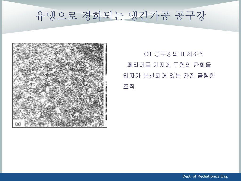 유냉으로 경화되는 냉간가공 공구강 O1 공구강의 미세조직 페라이트 기지에 구형의 탄화물 입자가 분산되어 있는 완전 풀림한 조직