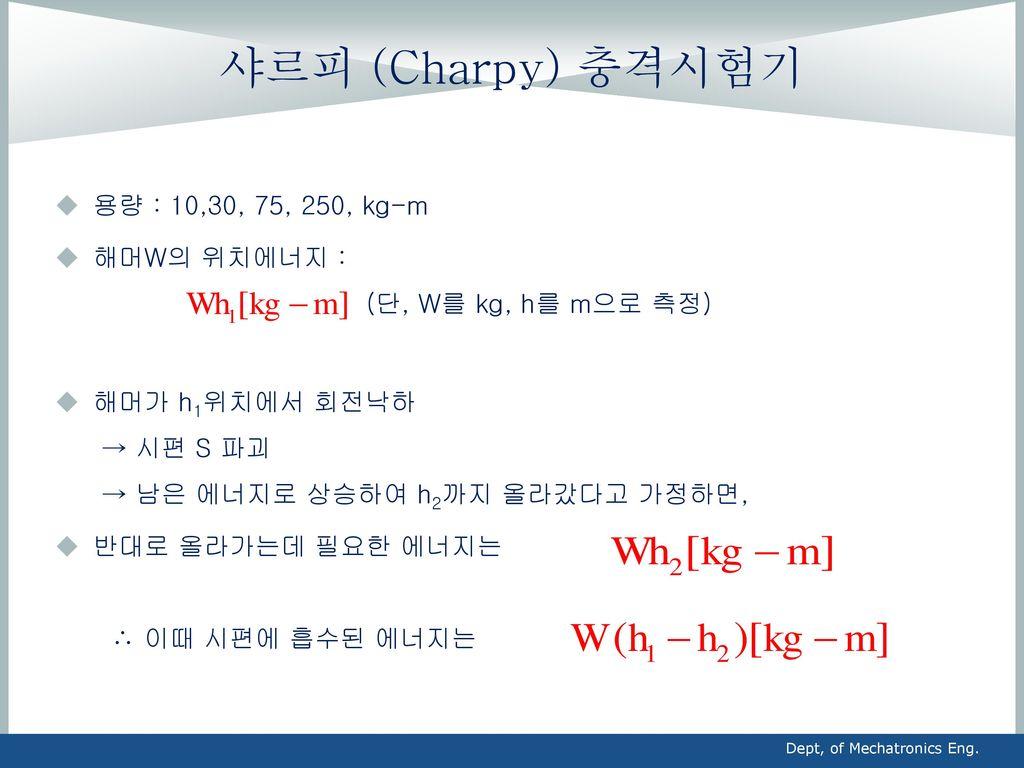샤르피 (Charpy) 충격시험기 용량 : 10,30, 75, 250, kg-m