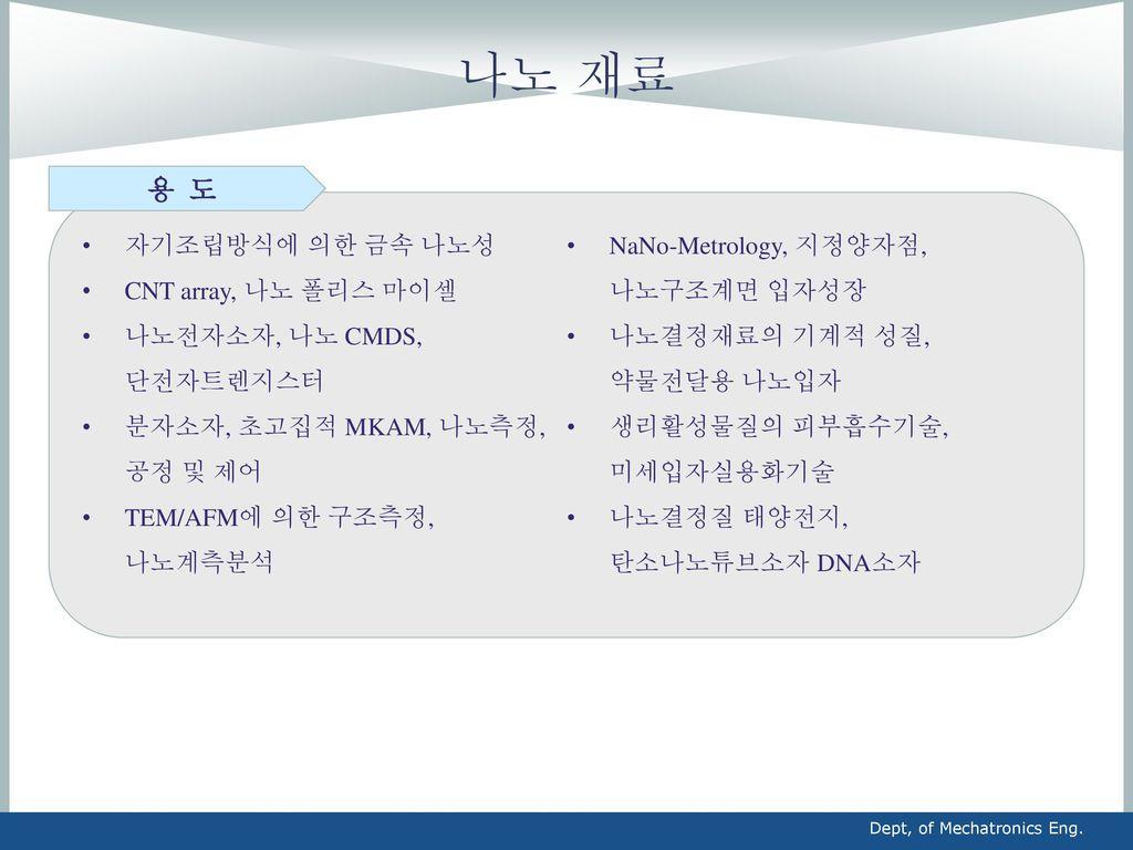 나노 재료 용 도 자기조립방식에 의한 금속 나노성 NaNo-Metrology, 지정양자점, 나노구조계면 입자성장