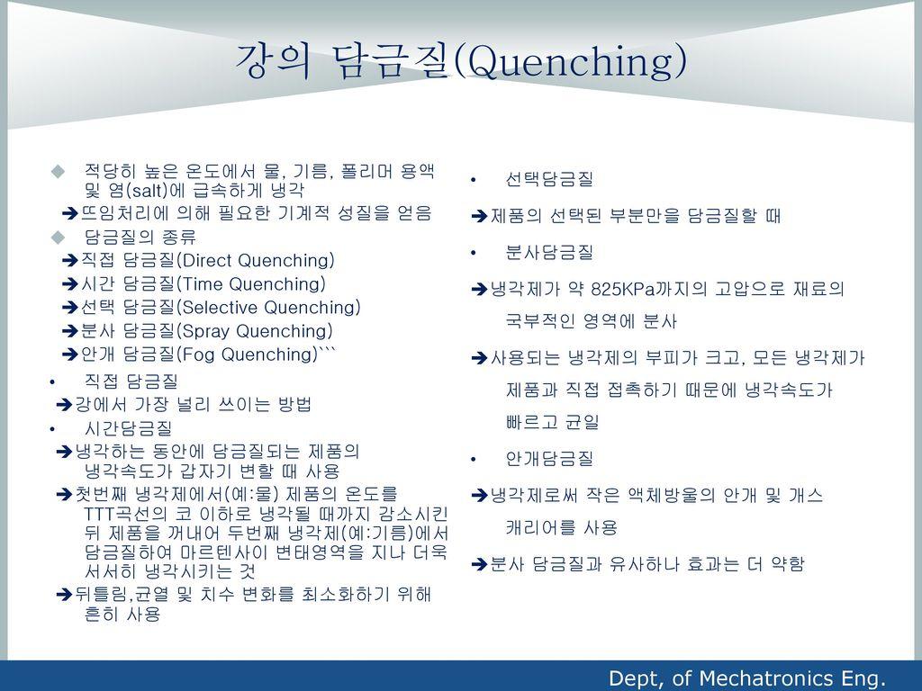 강의 담금질(Quenching) Dept, of Mechatronics Eng.