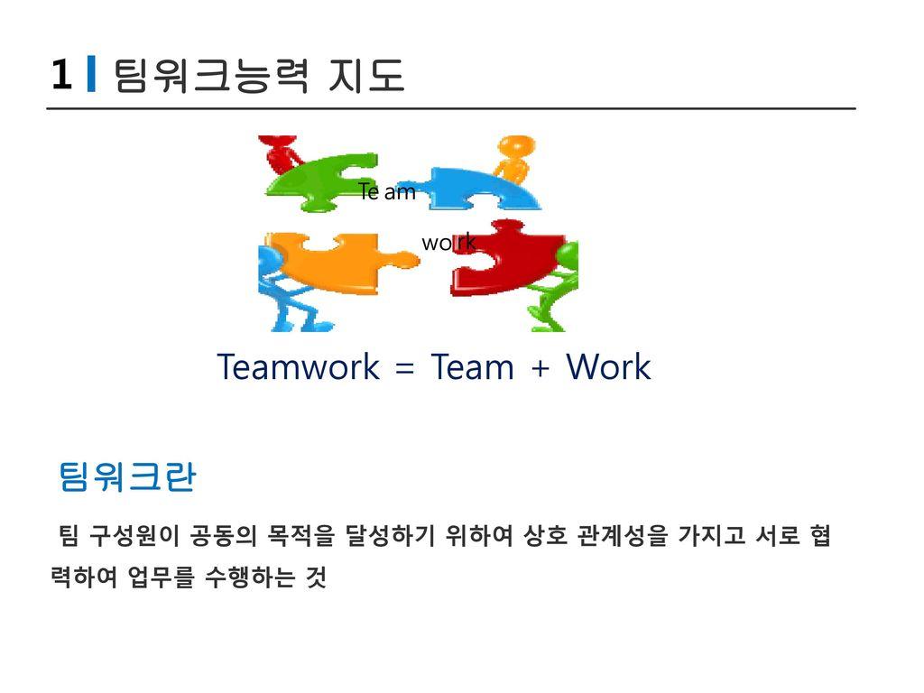1 팀워크능력 지도 Teamwork = Team + Work 팀워크란 Te am wo rk