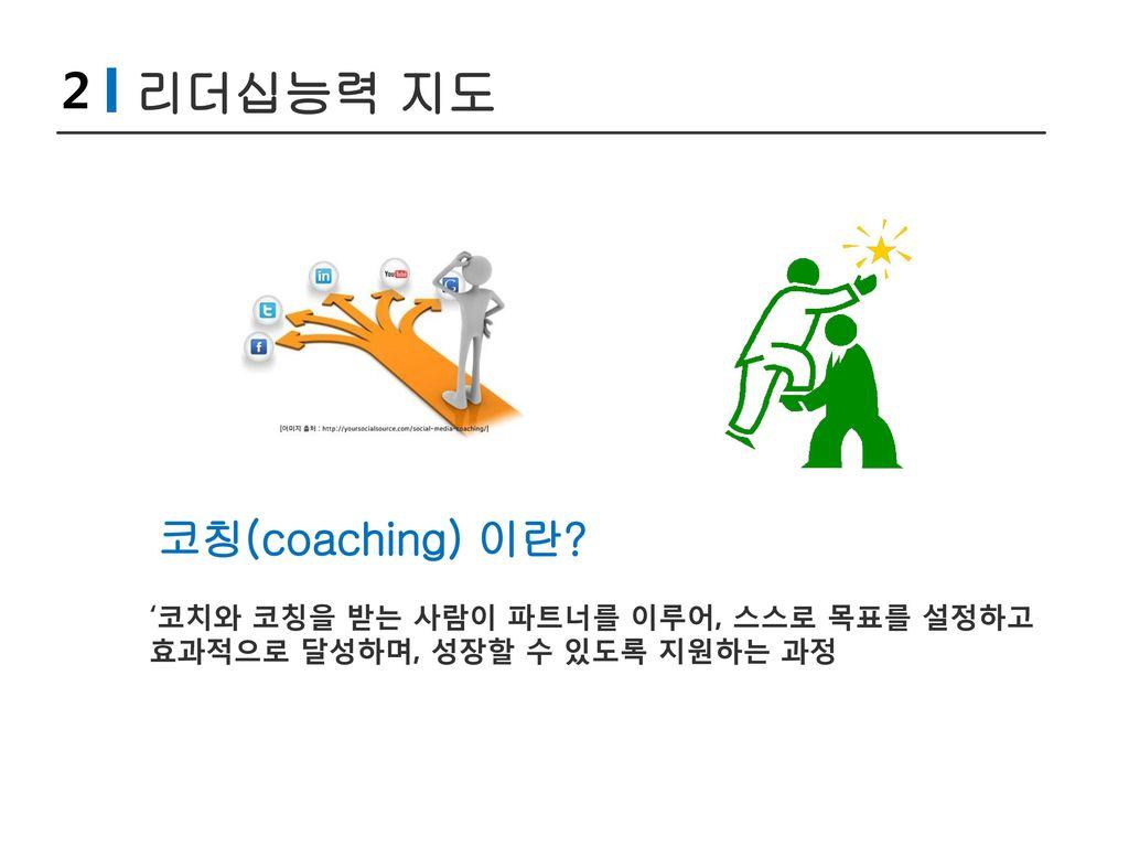 2 리더십능력 지도 코칭(coaching) 이란 '코치와 코칭을 받는 사람이 파트너를 이루어, 스스로 목표를 설정하고